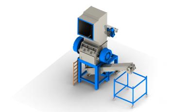 plastik kırma makinası önden görünüş